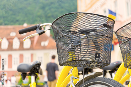 Deurstickers Fiets bicycle with basket