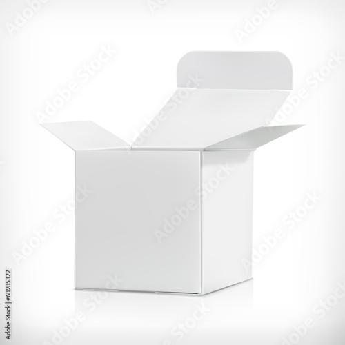 Photographie  Boîte en carton blanc, illustration vectorielle