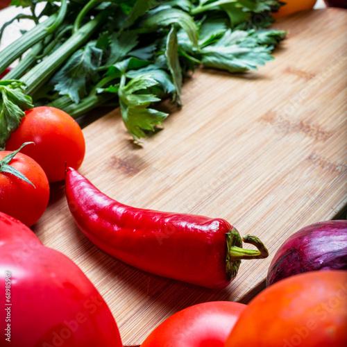 Staande foto Hot chili peppers frame of vegetables