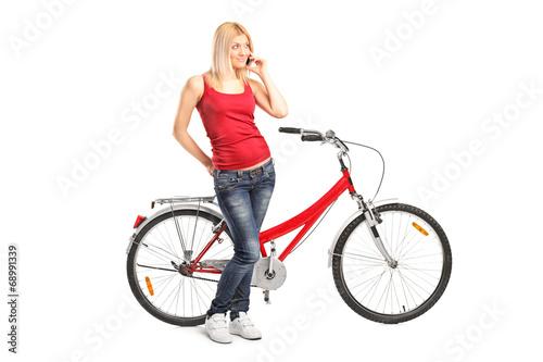 In de dag Illustratie Parijs Woman talking on phone and standing by a bike