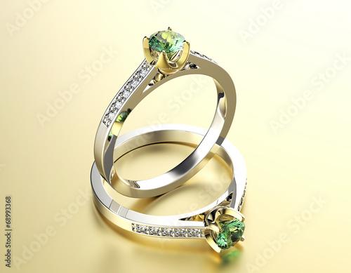 fototapeta na szkło Złoty pierścionek zaręczynowy z Peridot. Biżuteria tle