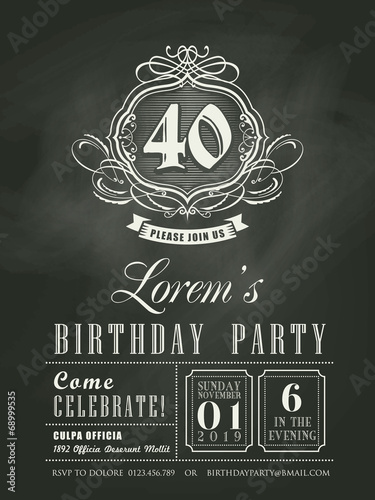 Fotografía  Anniversary birthday Invitation card chalkboard background