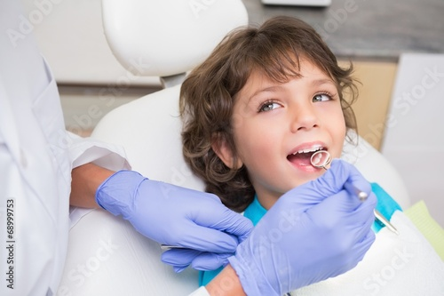 Pediatric dentist examining a little boys teeth Poster