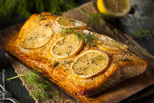Fotografie, Obraz  Homemade Grilled Salmon on a Cedar Plank