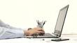 Man hand on laptop keyboard