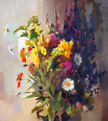Panel Szklany Do sypialni Oil painting of the beautiful flowers.