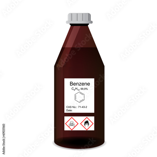 Bottle with chemical toxic and flammable solvent - benzene Wallpaper Mural