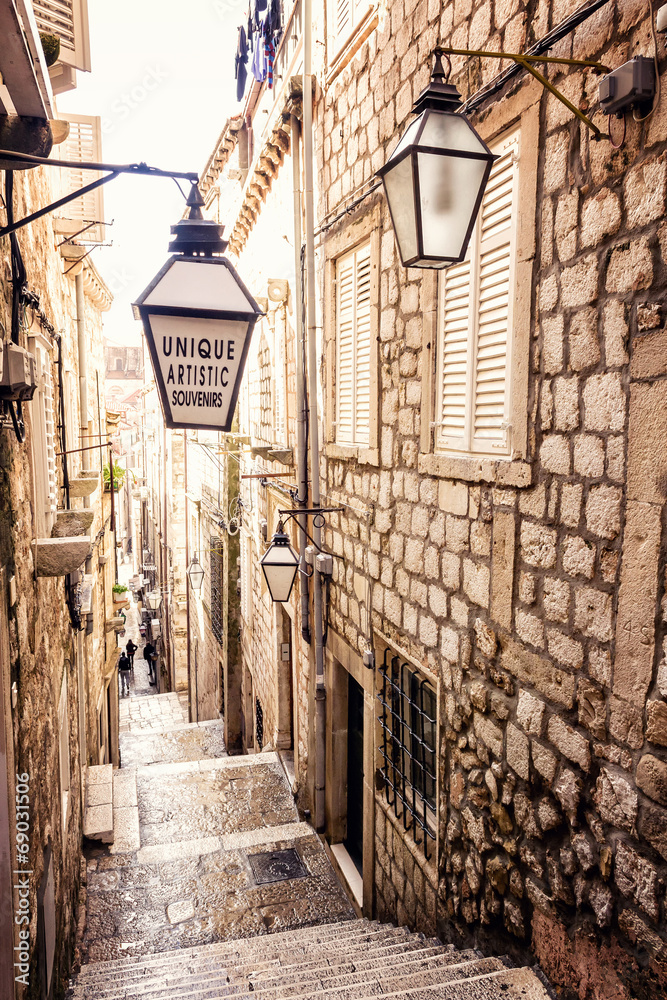 Fototapety, obrazy: Steep stairs and narrow street in old town of Dubrovnik