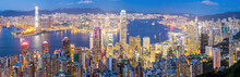 Hong Kong Skyline At Dusk Pano...