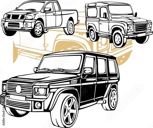 Off-Road Cars - Vector set. Canvas Print