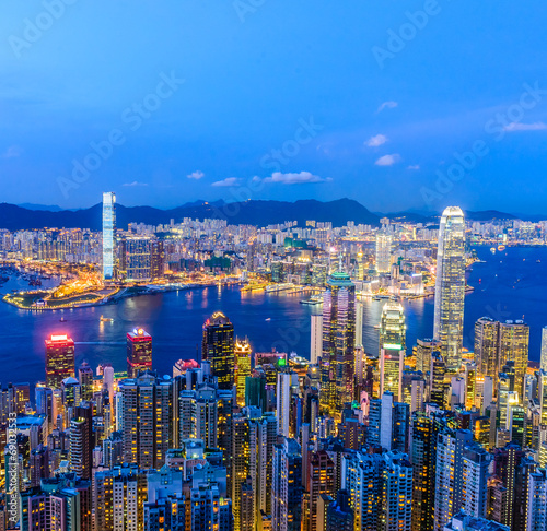 Photo  HONG KONG -August 8: Scene of the Victoria Harbour on August 8,