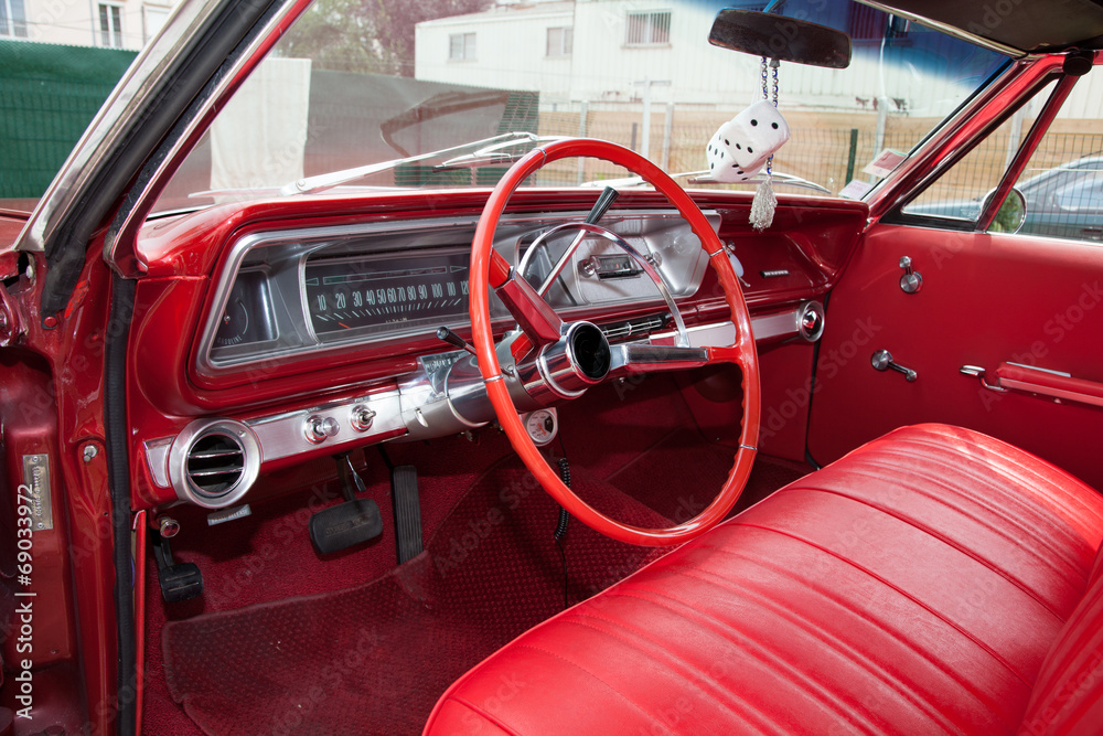 Poster Red Interior American Car From Sixities Nikkel Art