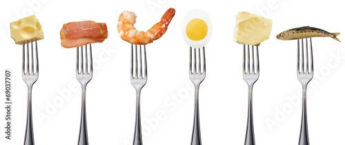 gabel mit verschieden Proteinen