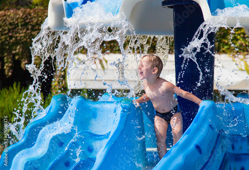 Garden Poster Water Motor sports Boy in waterpark