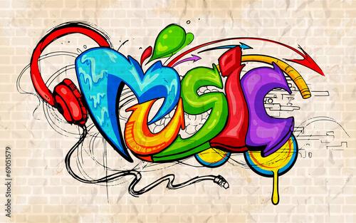 Foto op Aluminium Graffiti Graffiti style Music background