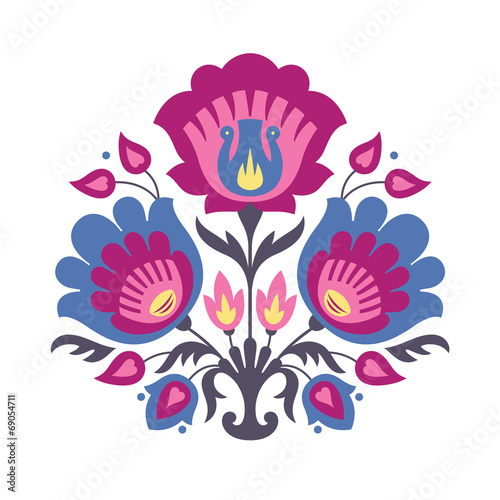 Fototapeta na wymiar Folk papercuts - Flowers