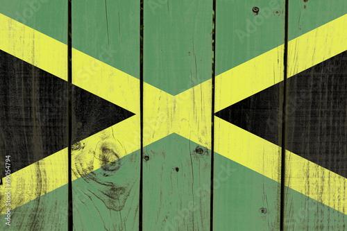 Fotografie, Obraz  Jamaica flag on wooden background