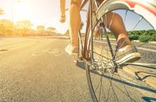 Man Rides His Bike On The Path