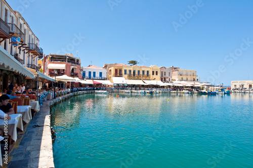 Foto op Aluminium Stad aan het water The venetian harbour with bars and restaurants. Crete, Greece.