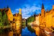 canvas print picture - Rozenhoedkaai, Bruges in Belgium