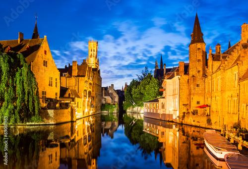 Poster Bridges Rozenhoedkaai, Bruges in Belgium