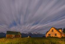 Dramatic Night Sky At Mormon Row With View At Grand Teton