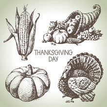 Thanksgiving Day Set. Hand Drawn Vintage Illustrations