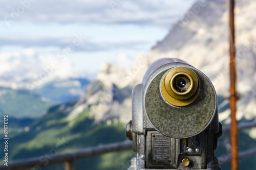Fotografie, Obraz  A binoculars with a wonderful view of a Dolomites Mountains