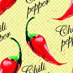 Panel Szklany Warzywa Chili pepper pattern on grunge background.