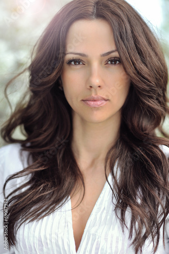 Fototapety, obrazy: Woman with beautiful long curly hair. Pretty girl with perfect s