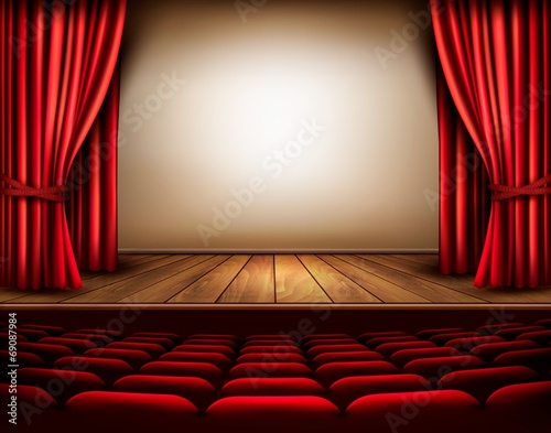 A theater stage with a red curtain, seats. Vector. Canvas
