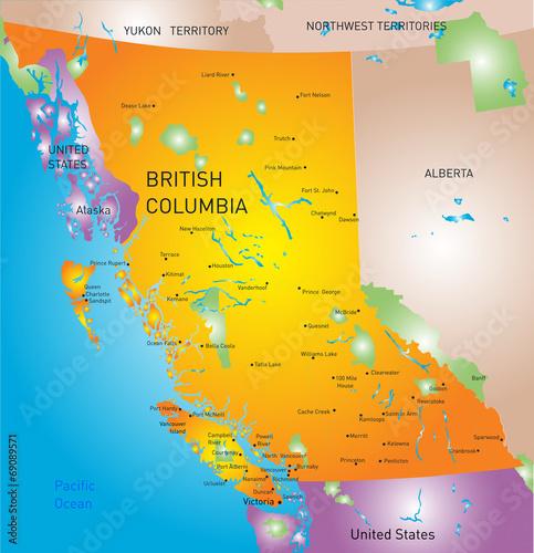 Fototapeta british columbia province map obraz
