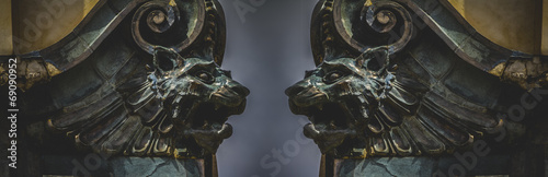 Fotografie, Obraz Gargoyles, gothic sculptures in madrid, spain