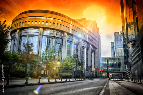 Foto op Canvas Brussel European Parliament building at sunset. Brussels, Belgium