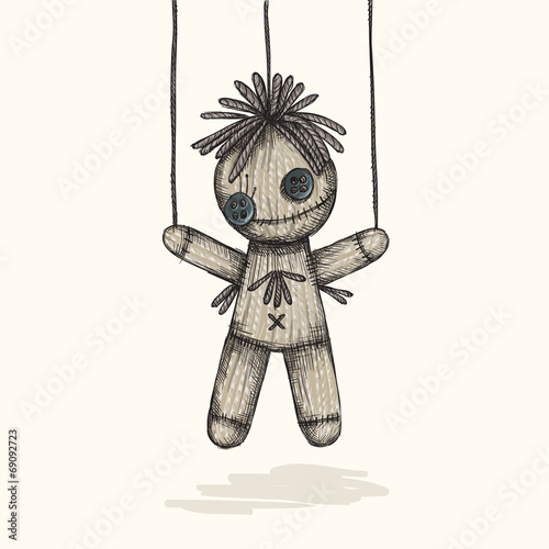 Canvas Print Spooky Voodoo Doll In A Sketch Style
