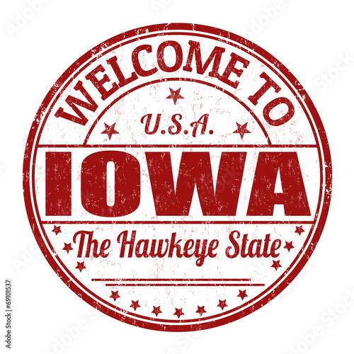 Photo  Welcome to Iowa stamp