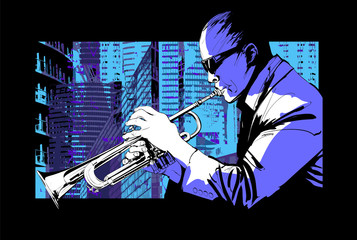 Jazz trumpet player over a city background