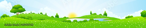 Poster Lime groen Green Landscape