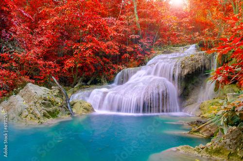Recess Fitting Waterfalls Waterfall in Deep forest at Erawan waterfall National Park,