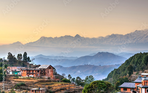 Spoed Foto op Canvas Nepal Bandipur village in Nepal, HDR photography