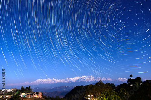 Wall Murals Nepal Star trails over Bandipur, Nepal