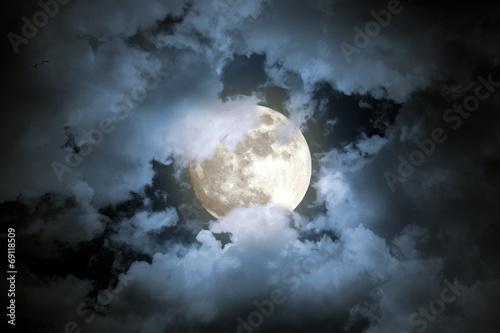 Cuadros en Lienzo Cloudy full moon night