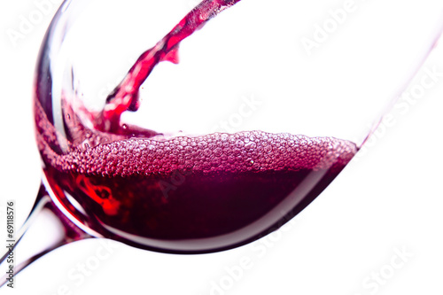 Red wine on white background Poster