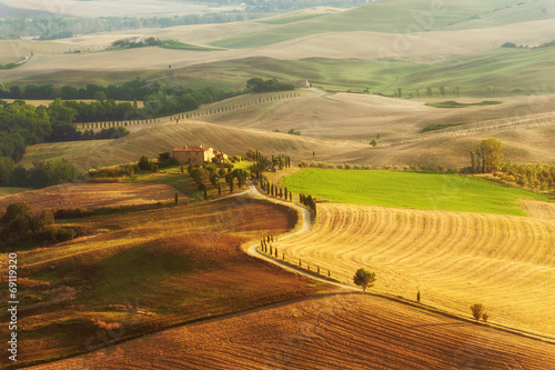 In de dag Oranje Country view in the Tuscany landscape from Pienza, Italy