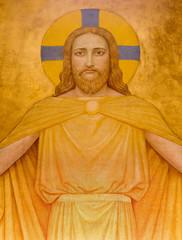 Fototapeta Do kościoła Vienna - Jesus Christ modern fresco in Carmelites church