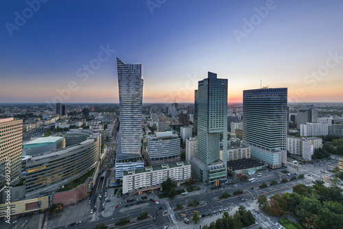 Fototapeta Night panorama of Warsaw city center obraz