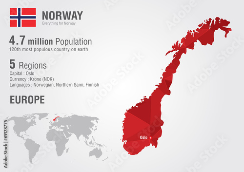 Norway world map with a pixel diamond texture. Tablou Canvas
