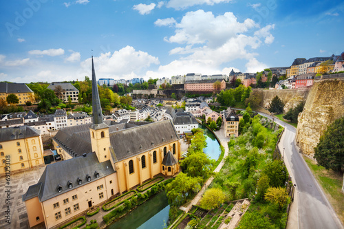 Poster  Top view of Abbey de Neumunster in Luxembourg