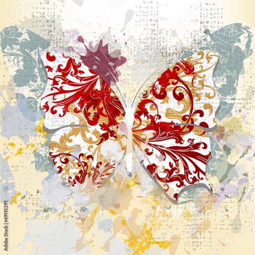 Fotobehang Vlinders in Grunge Creative grunge background with butterfly made from swirls and i