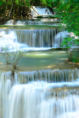 Fototapeta samoprzylepna Waterfall in tropical deep forest at Hua Maekhamin